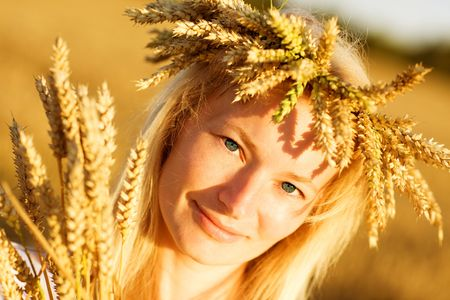girl in field of wheat Stock Photo - 5442943