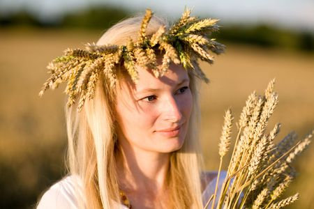 girl in field of wheat Stock Photo - 5442945