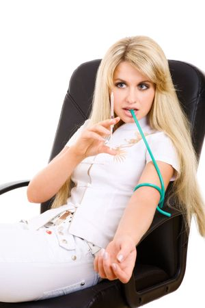 beautiful long haired blond girl with syringe making injection in vein Stock Photo - 5573587