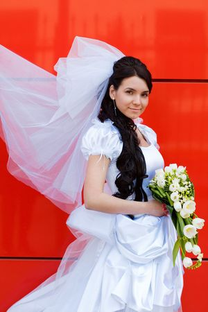 bride by the red wall Stock Photo - 5687215