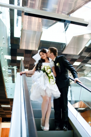 bride and groom in metro Stock Photo - 5687211