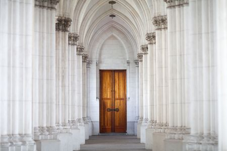 corridor of columns in the church photo