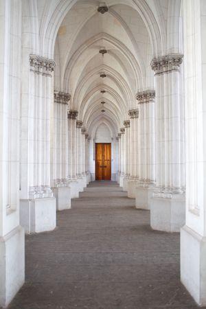 corridor of columns in the church