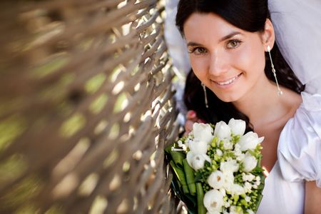 young bride near the hedge Standard-Bild