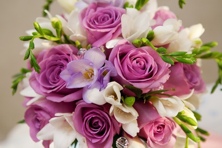 bouquet of roses and freesias Stock Photo