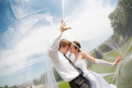 the happy bride: kiss of two under the veil Stock Photo