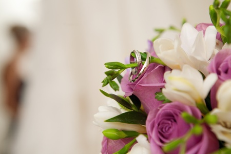 bride, bouquet of flowers, rings and wedding dress photo