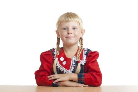 industrious: studious small girl Stock Photo