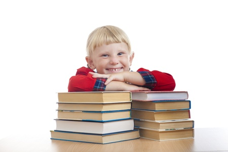 happy small girl with books photo