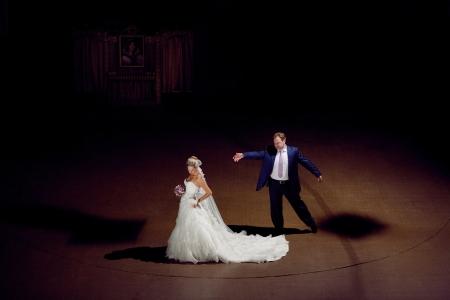 dancing bride and groom photo