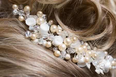 adorning: beautiful adorning on the hair of the woman