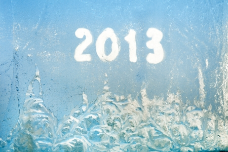 frost on the window and written 2013 Stock Photo - 16926966