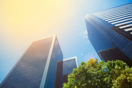 business buildings and blue sky with sunbeams Stock Photo - 17689077