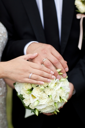 bouquet and wedding rings of bride and groom photo