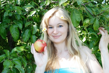 young girl with apple photo