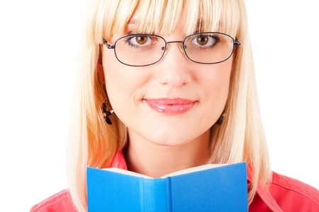 portrait of a blond girl with book photo