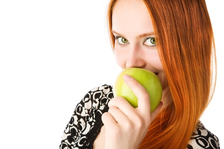 young girl with an apple photo
