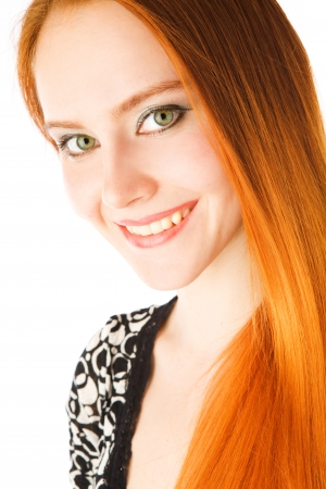 portrait of the girl with long red hair photo