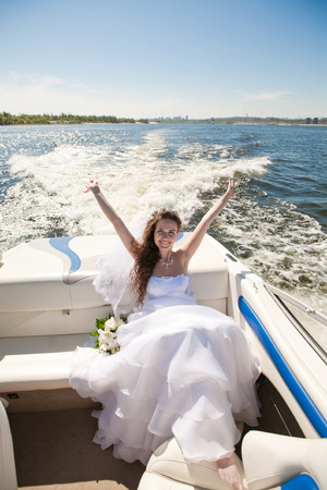 bride on the boat Stock Photo