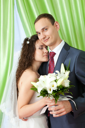 bride and groom at home