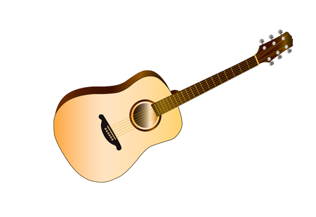 Acoustic six-string guitar, on white background.