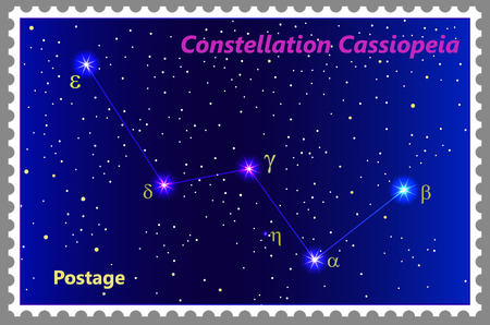 Postage stamp Constellation Cassiopeia with a frame simple perforation. Vector illustration. Can be used for poster, banner, cover, postcard, design, labels, stickers.