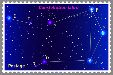 Postage stamp Constellation Libra with a frame simple perforation. Vector illustration. Can be used for poster, banner, cover, postcard, design, labels, stickers.