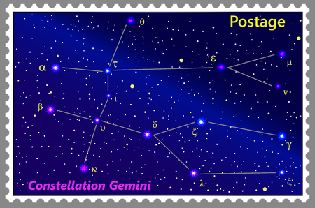 Postage stamp Constellation Gemini with a frame simple perforation. Vector illustration. Can be used for poster, banner, cover, postcard, design, labels, stickers. Ilustrace