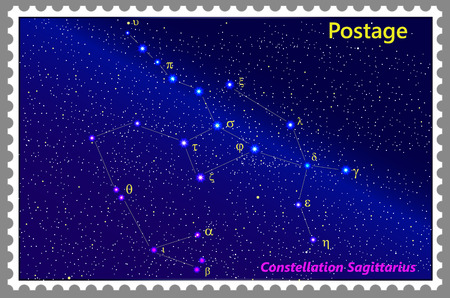 Postage stamp Constellation Sagittarius with a frame simple perforation. Vector illustration. Can be used for poster, banner, cover, postcard, design, labels, stickers. Ilustrace