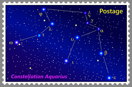 Postage stamp Constellation Aquarius with a frame simple perforation. Vector illustration. Can be used for poster, banner, cover, postcard, design, labels, stickers.
