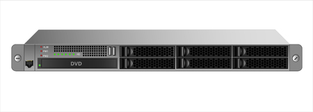 The 19-inch rack for six with a 2.5-inch hard drive and an optical drive. Banque d'images - 118559710