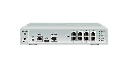 Trunking gateway E1, SIP. Has WAN port, USB port, Console port (RJ45), 8 E1 ports (RJ45). On a white background. Vector illustration.