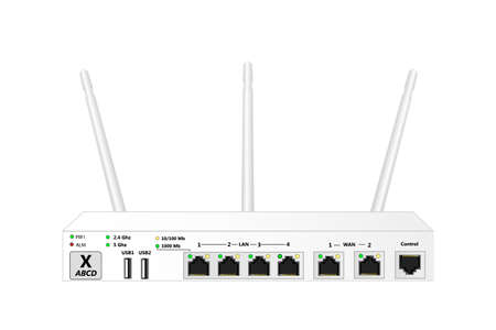 Dual Band Wireless service router with control port, 2 WAN port 4 LAN ports and 2 USB ports. The router has 3 antennas. White color. Vector illustration.