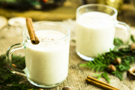 eggnog - hot winter alcoholic drink with milk
