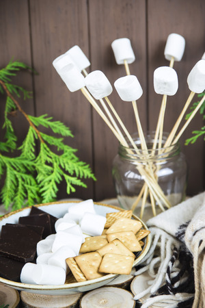 marshmallow on sticks next to a plate with crackers and chocolate
