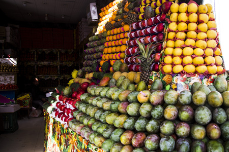 Sharm El Sheikh, Sinai  Egypt - December 15, 2017. Sale of fruit in the old market in a tourist place.