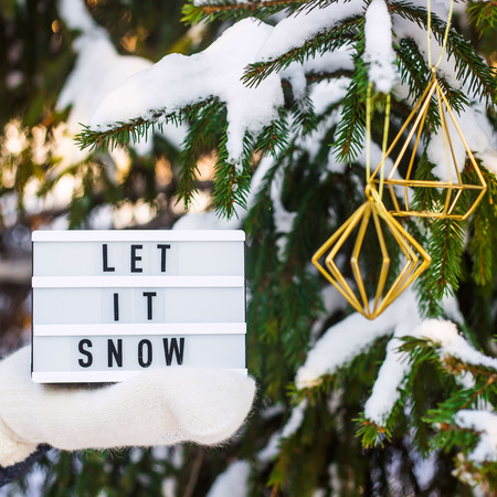 Let it snow it is written on a decorative lamp in the hand of a woman in a white mitten against the background of green fir branches in the snow Stock Photo