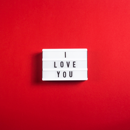 I love you written on a decorative lamp on a bright red background. Valentine's day concept 版權商用圖片