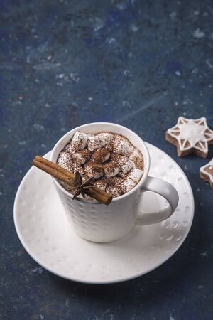 Cocoa with marshmallows in a white cup next to homemade ginger biscuits, a cinnamon stick and star anise star. Christmas greeting card Banco de Imagens