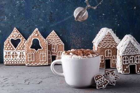 A white cup of cocoa with marshmallows on which cocoa powder is poured from a metal sieve among homemade ginger cookies and ginger houses. Christmas greeting card Banco de Imagens