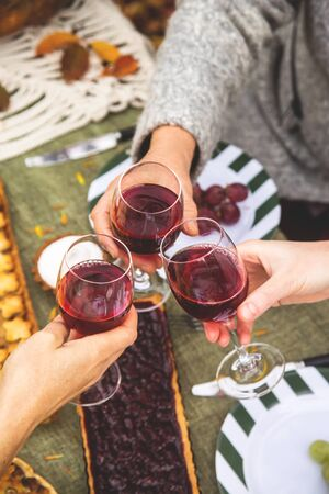 Women in a family from different generations clinks with wine glasses for a family holiday autumn dinner in the backyard.