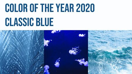 A collage of three photographs tinted in the color of the year 2020 classic blue. Banco de Imagens