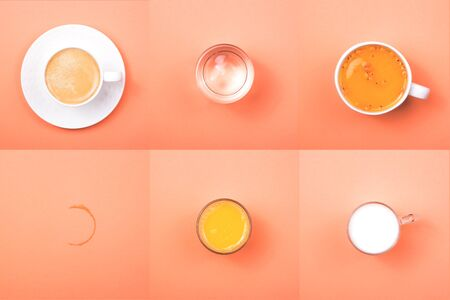 Collage of different drinks on a coral background - coffee, milk, water, juice and tea. Top view, flat lay.