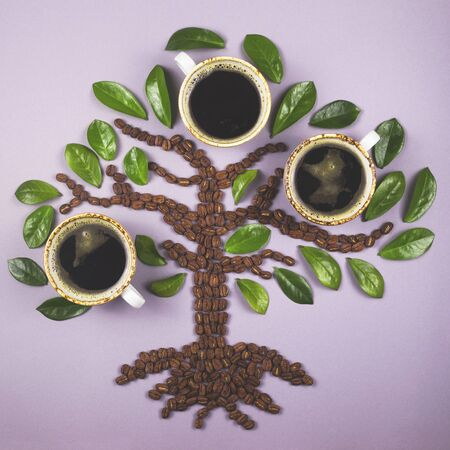 A tree-shaped layout made from coffee beans with cups of coffee grown on it. Top view layout.