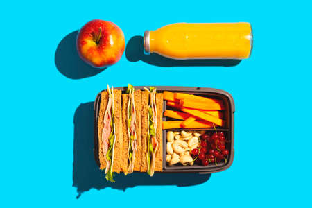 Healthy school lunch in a container - sandwiches, carrots, nuts and berries next to an apple and a bottle of juice.