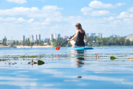 A beautiful woman is engaged in summer active sports on the river on a SUP board