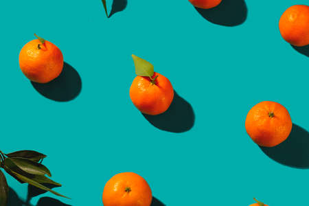 Tangerines on a turquoise background with shadows. Bright creative photo