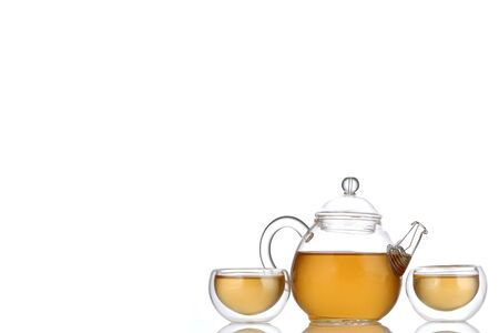Cup of tea on white background.Copy space for the ads