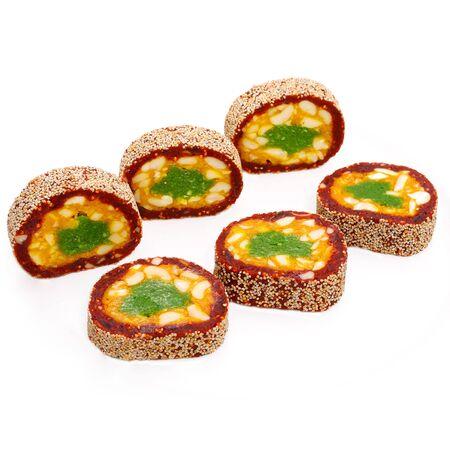 indian Kaju anjeer roll isolated ,Kaju dates roll,indian sweets Stockfoto
