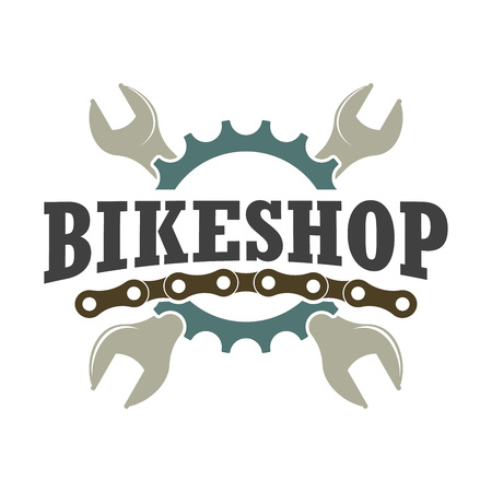 Vector color vintage badge for a bike shop and store of bicycle parts and accessories Ilustração